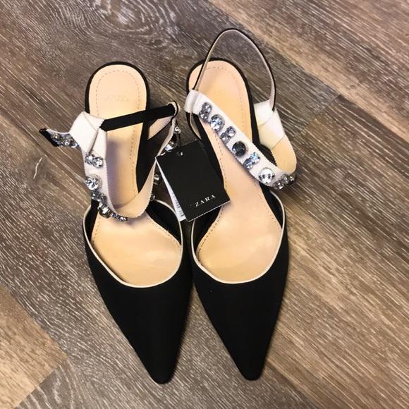 443d0f3f02c Zara Slingback Black high heel beaded detail NWT
